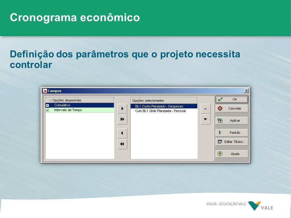 Cronograma econômico Definição dos parâmetros que o projeto necessita controlar