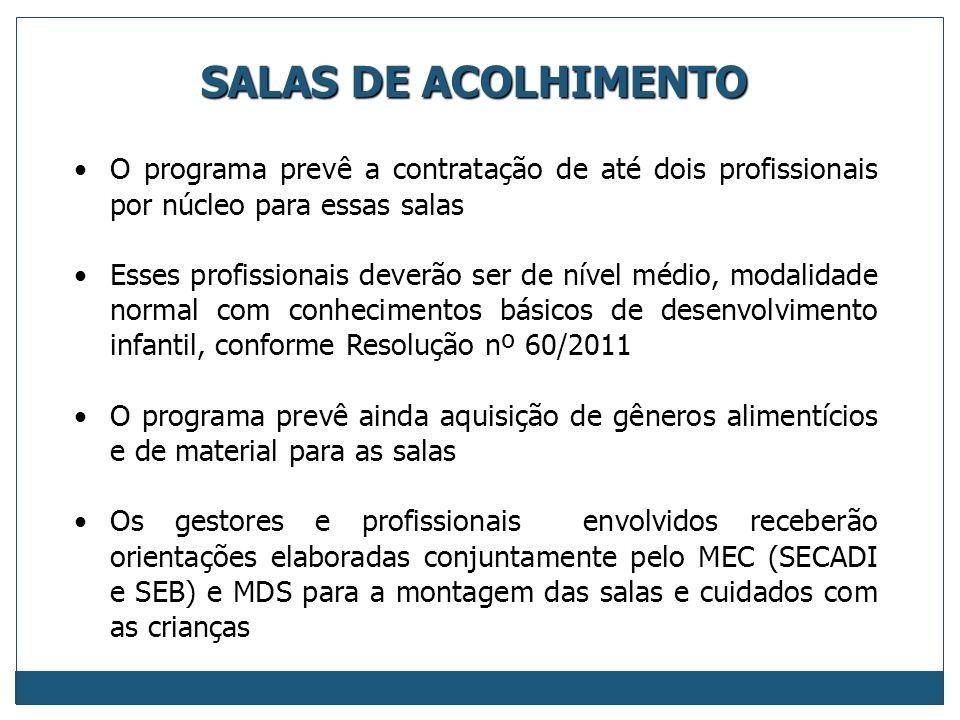 SALAS DE ACOLHIMENTO O programa prevê a contratação de até dois profissionais por núcleo para essas salas.