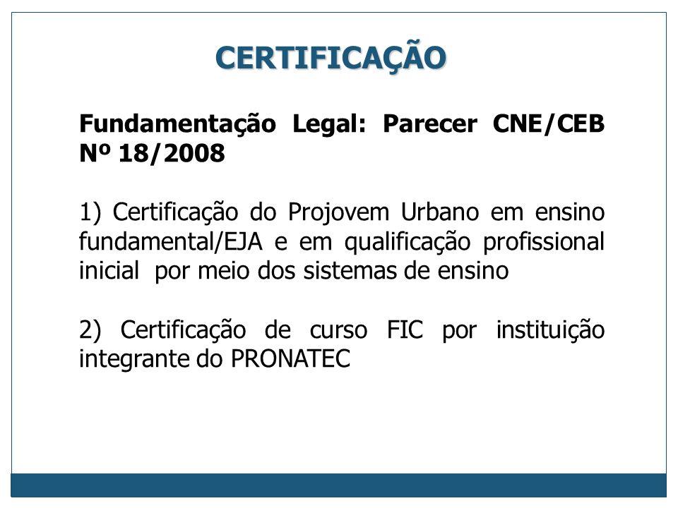CERTIFICAÇÃO Fundamentação Legal: Parecer CNE/CEB Nº 18/2008