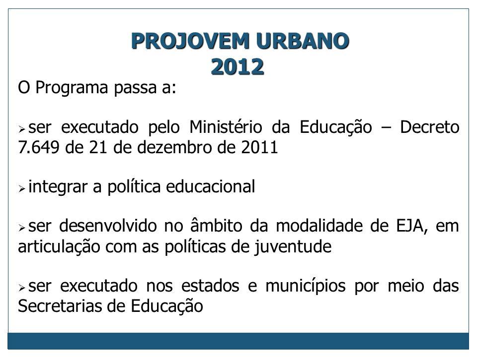 PROJOVEM URBANO 2012 O Programa passa a: