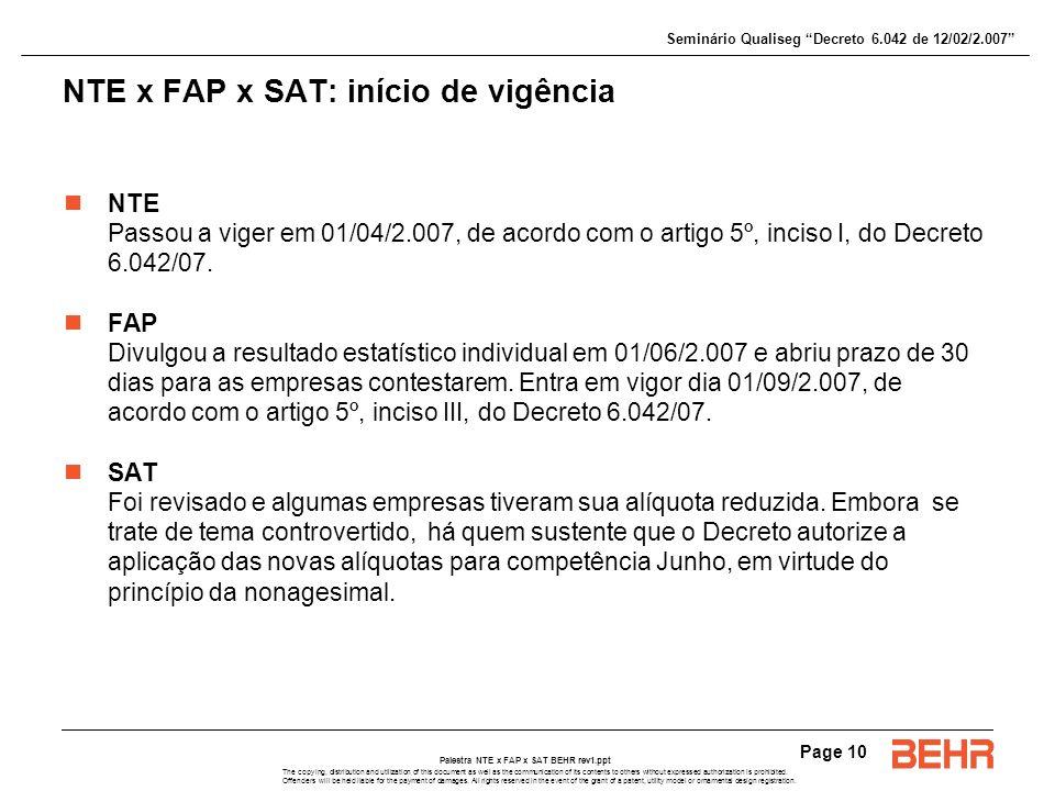 NTE x FAP x SAT: início de vigência