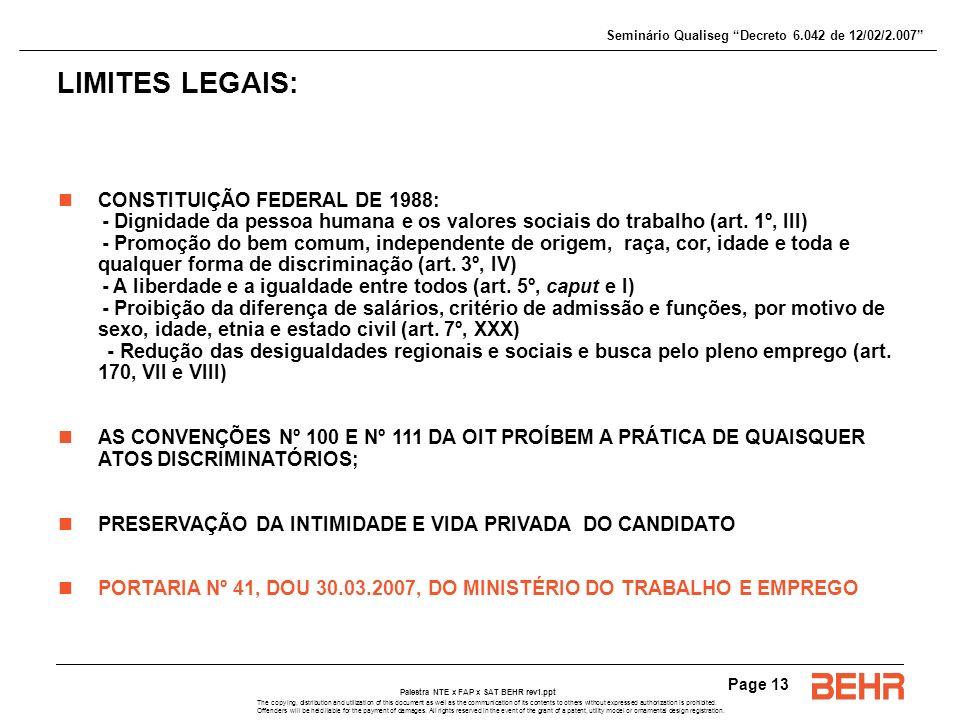 LIMITES LEGAIS: CONSTITUIÇÃO FEDERAL DE 1988: