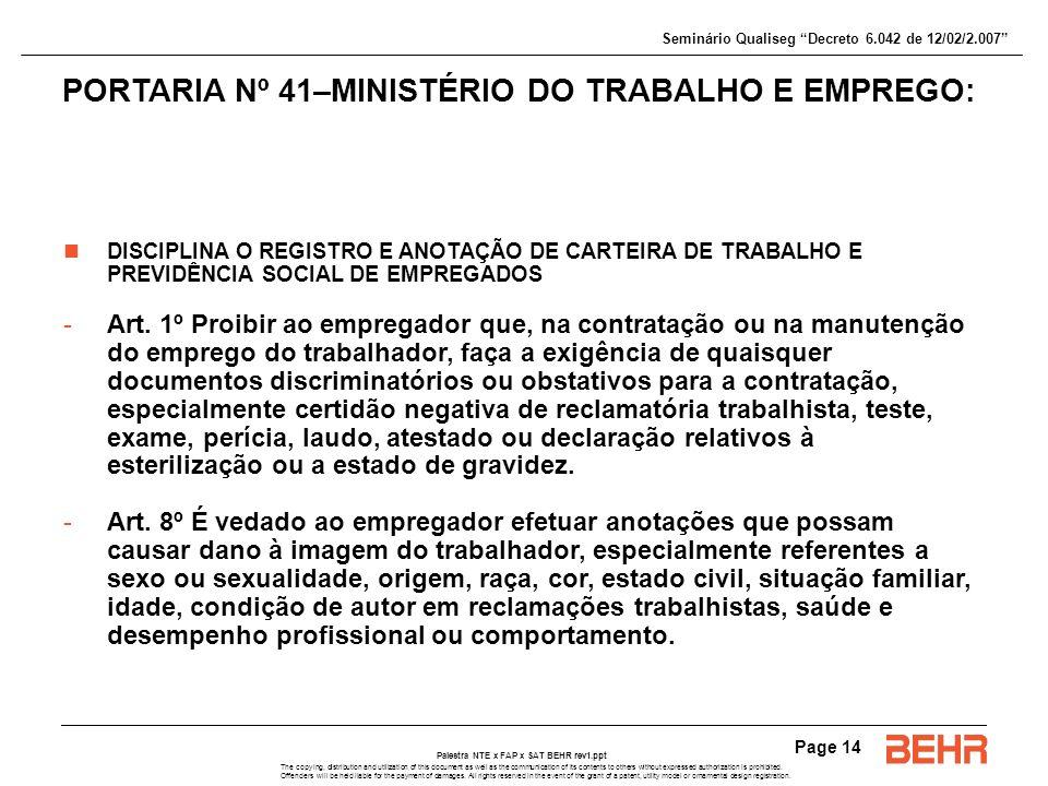 PORTARIA Nº 41–MINISTÉRIO DO TRABALHO E EMPREGO:
