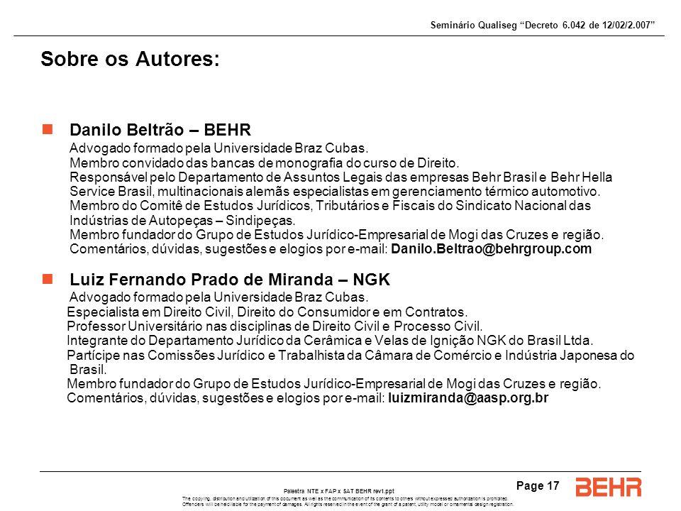 Sobre os Autores: Danilo Beltrão – BEHR
