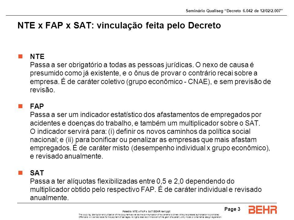 NTE x FAP x SAT: vinculação feita pelo Decreto