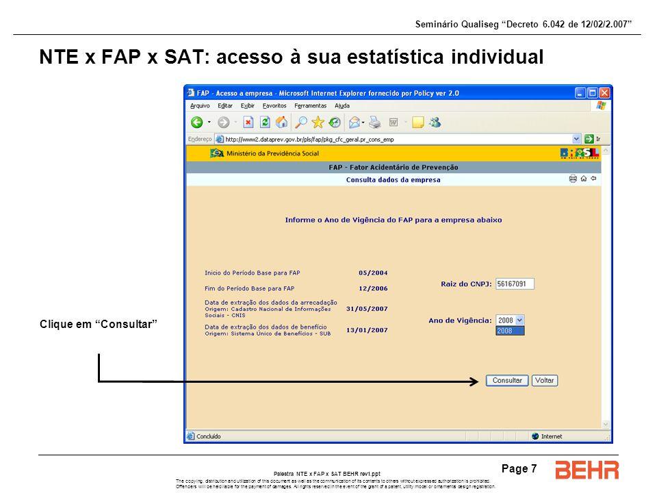 NTE x FAP x SAT: acesso à sua estatística individual
