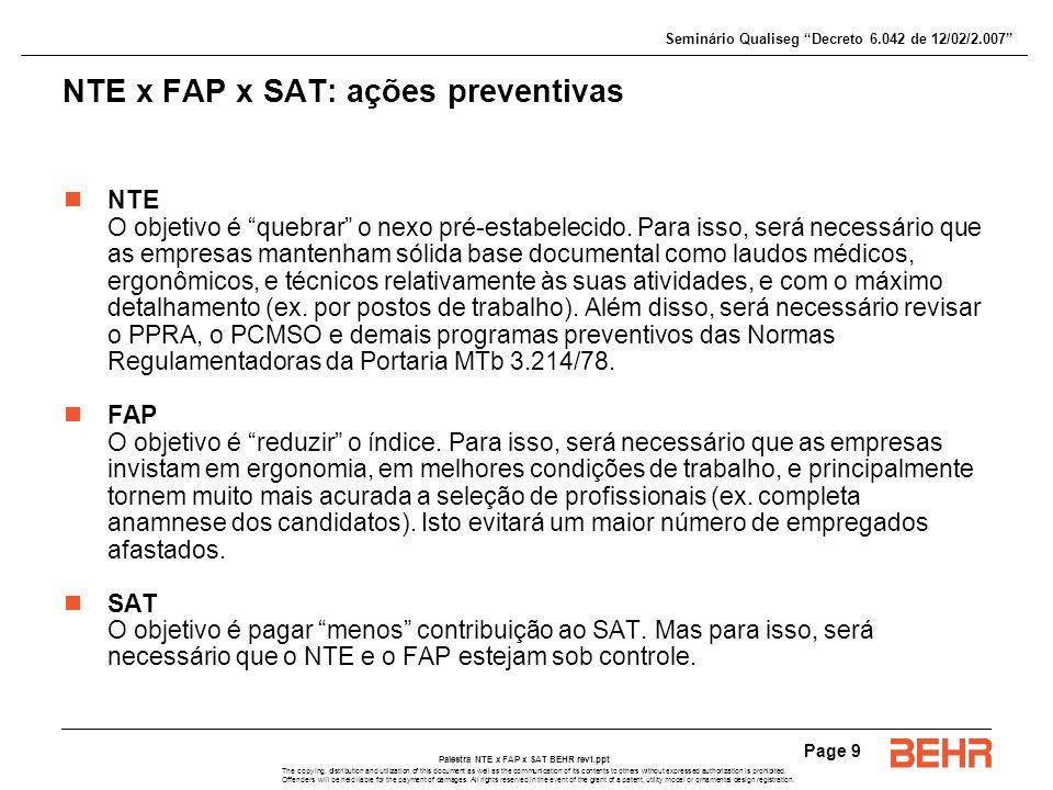 NTE x FAP x SAT: ações preventivas