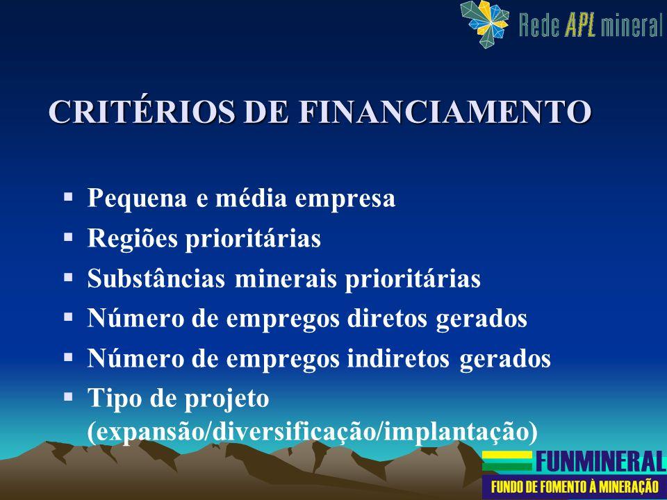 CRITÉRIOS DE FINANCIAMENTO