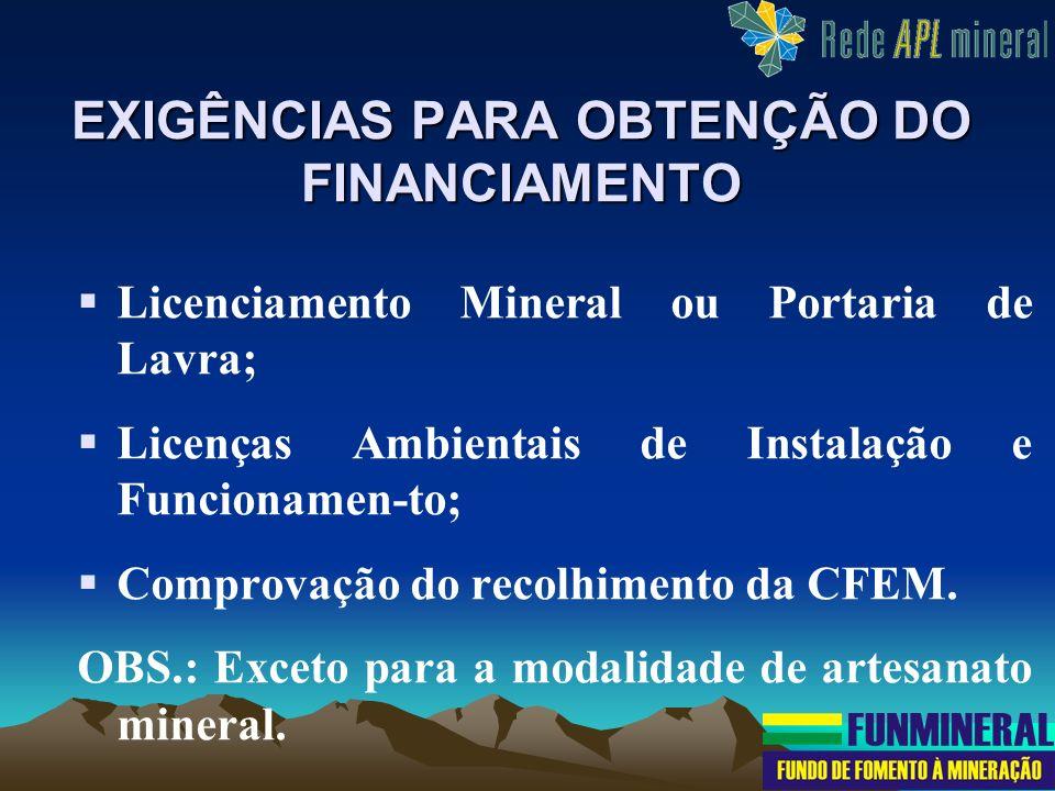 EXIGÊNCIAS PARA OBTENÇÃO DO FINANCIAMENTO