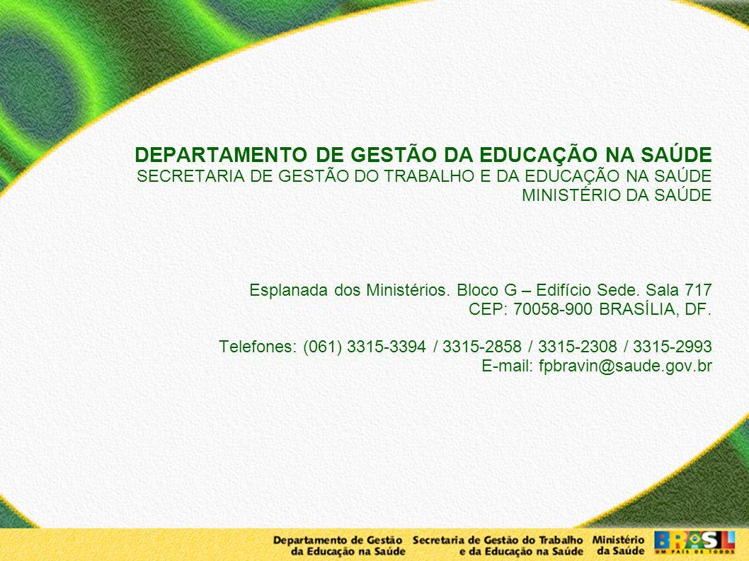 DEPARTAMENTO DE GESTÃO DA EDUCAÇÃO NA SAÚDE SECRETARIA DE GESTÃO DO TRABALHO E DA EDUCAÇÃO NA SAÚDE MINISTÉRIO DA SAÚDE Esplanada dos Ministérios.