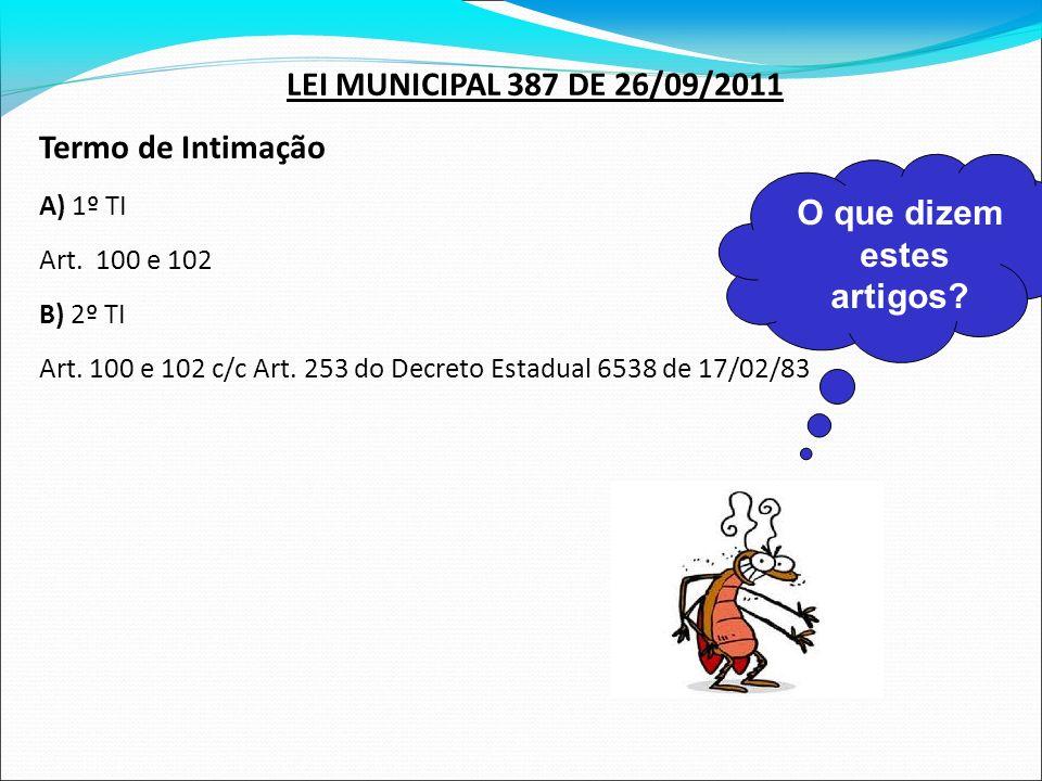 LEI MUNICIPAL 387 DE 26/09/2011 Termo de Intimação O que dizem