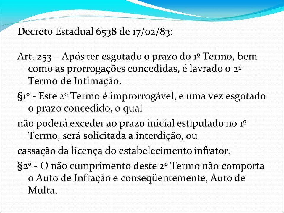 Decreto Estadual 6538 de 17/02/83: