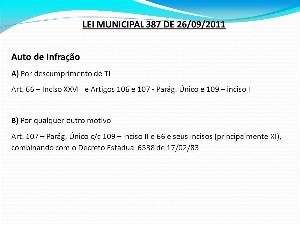 LEI MUNICIPAL 387 DE 26/09/2011 Auto de Infração
