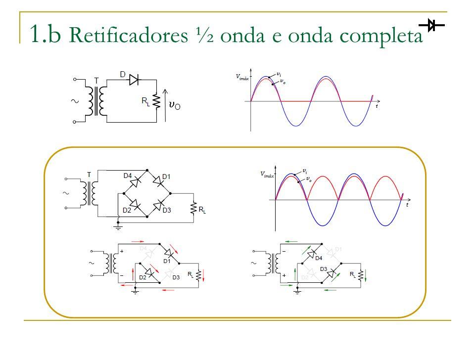 1.b Retificadores ½ onda e onda completa