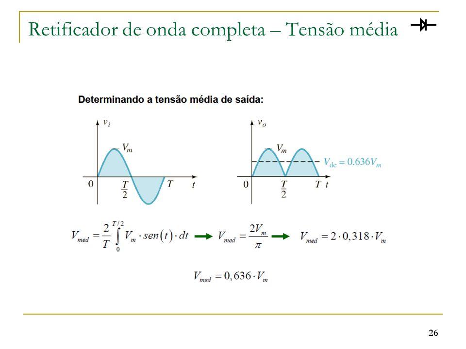 Retificador de onda completa – Tensão média