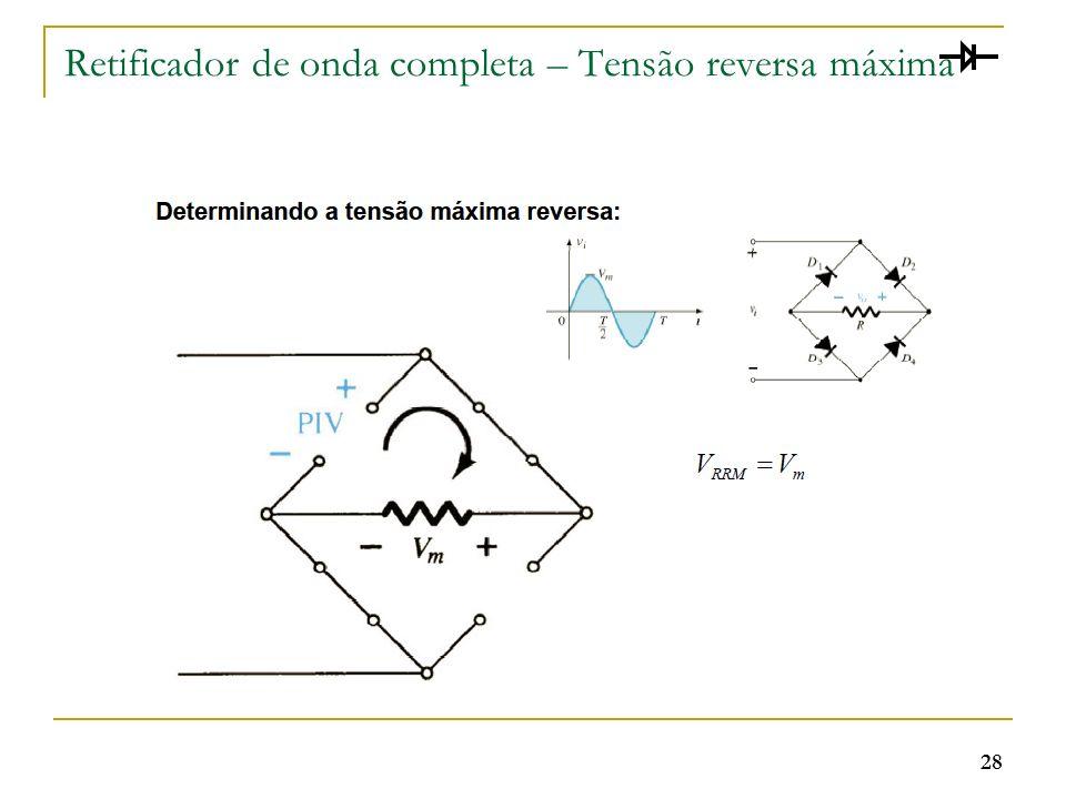 Retificador de onda completa – Tensão reversa máxima