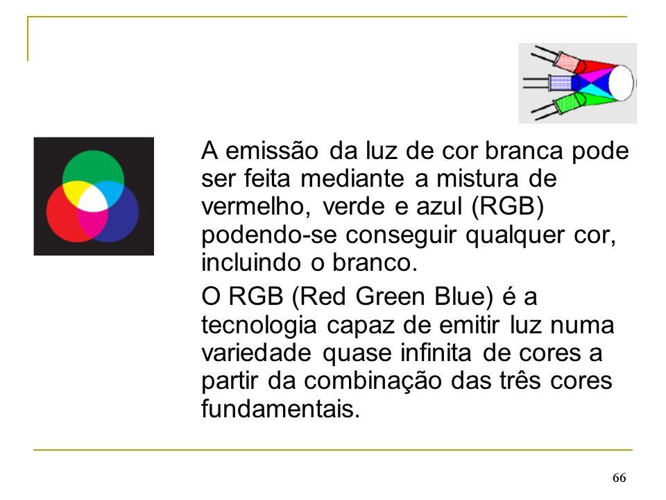 A emissão da luz de cor branca pode ser feita mediante a mistura de vermelho, verde e azul (RGB) podendo-se conseguir qualquer cor, incluindo o branco.
