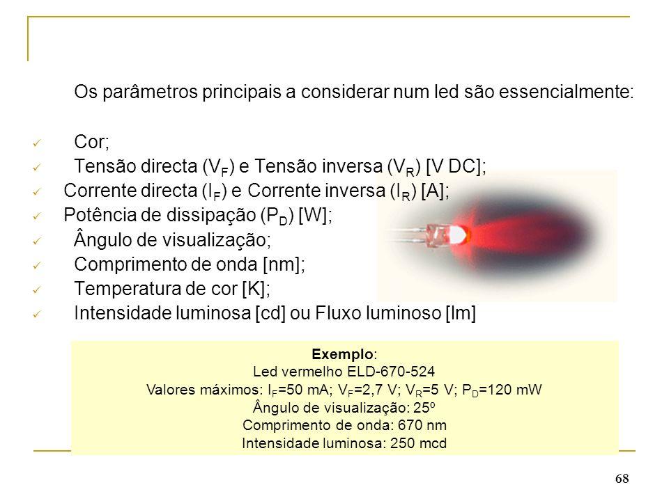 Os parâmetros principais a considerar num led são essencialmente: