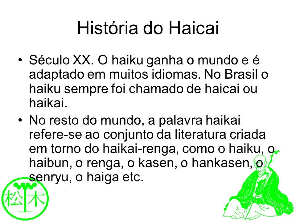 História do HaicaiSéculo XX. O haiku ganha o mundo e é adaptado em muitos idiomas. No Brasil o haiku sempre foi chamado de haicai ou haikai.