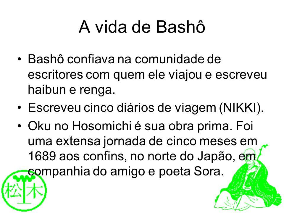 A vida de BashôBashô confiava na comunidade de escritores com quem ele viajou e escreveu haibun e renga.