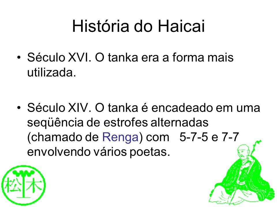 História do Haicai Século XVI. O tanka era a forma mais utilizada.