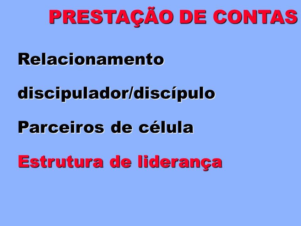 PRESTAÇÃO DE CONTAS Relacionamento discipulador/discípulo
