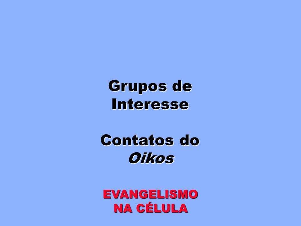 Grupos de Interesse Contatos do Oikos EVANGELISMO NA CÉLULA