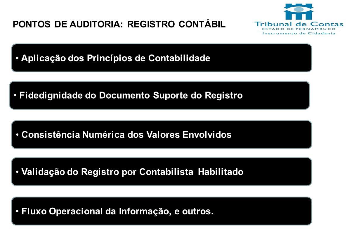 PONTOS DE AUDITORIA: REGISTRO CONTÁBIL