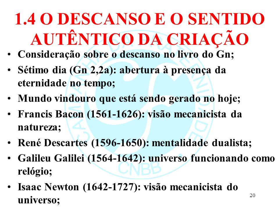 1.4 O DESCANSO E O SENTIDO AUTÊNTICO DA CRIAÇÃO