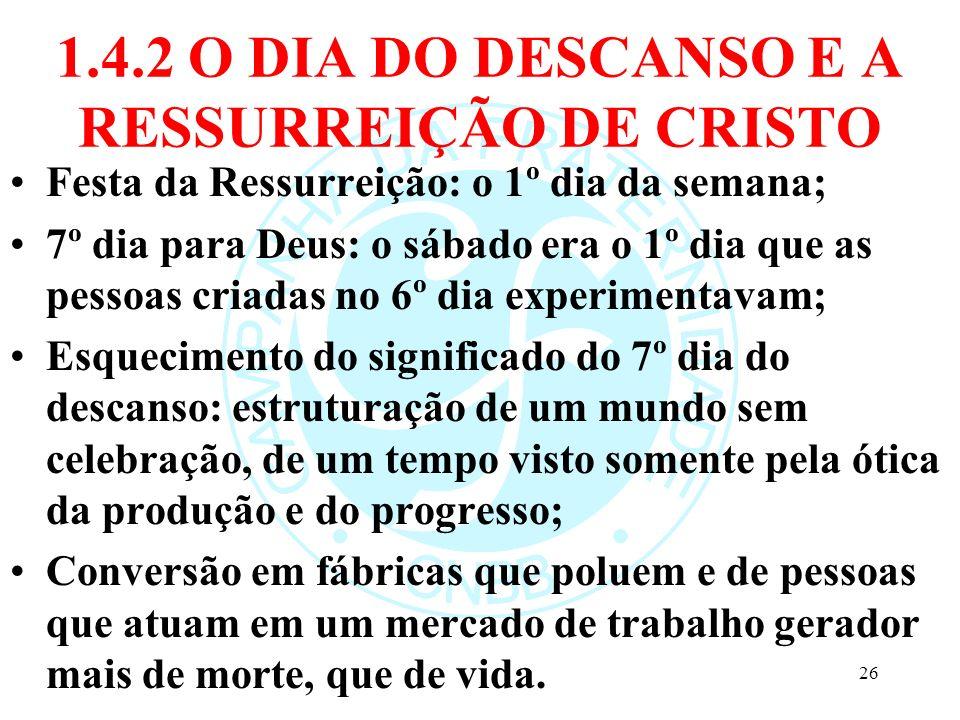 1.4.2 O DIA DO DESCANSO E A RESSURREIÇÃO DE CRISTO