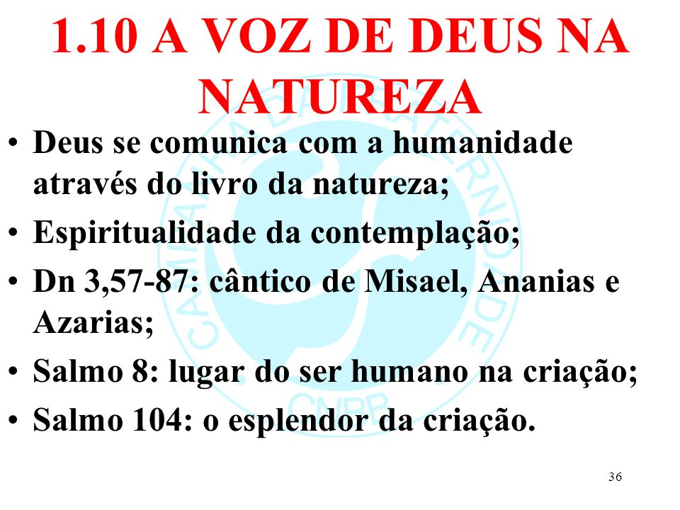 1.10 A VOZ DE DEUS NA NATUREZA