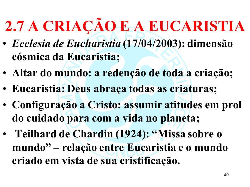 2.7 A CRIAÇÃO E A EUCARISTIA