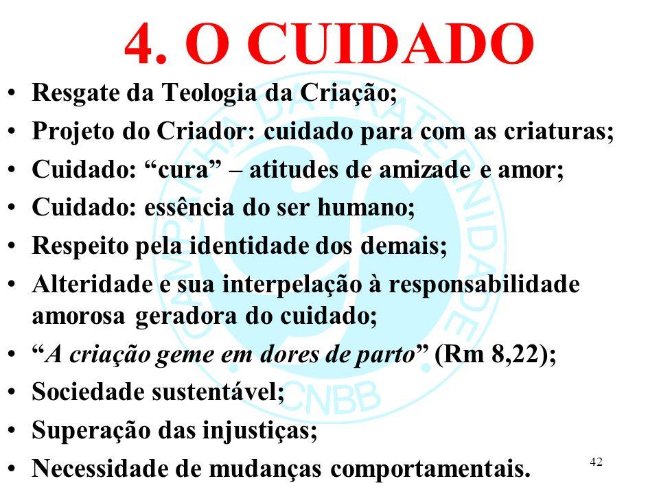 4. O CUIDADO Resgate da Teologia da Criação;