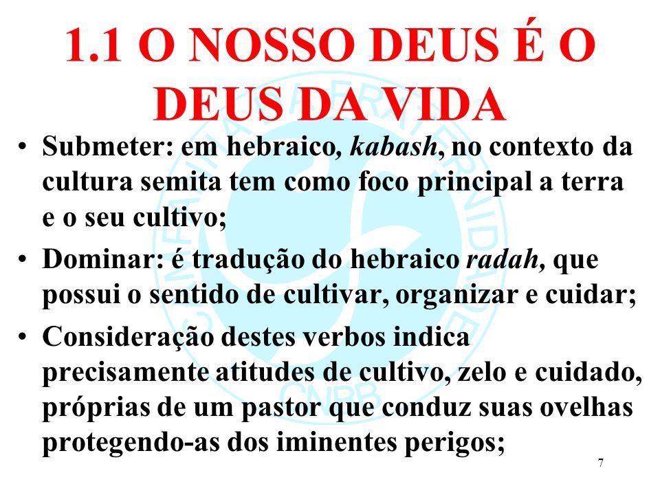 1.1 O NOSSO DEUS É O DEUS DA VIDA