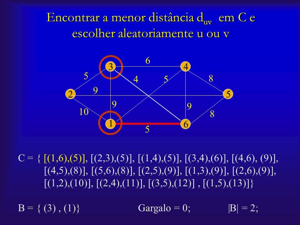Encontrar a menor distância duv em C e escolher aleatoriamente u ou v