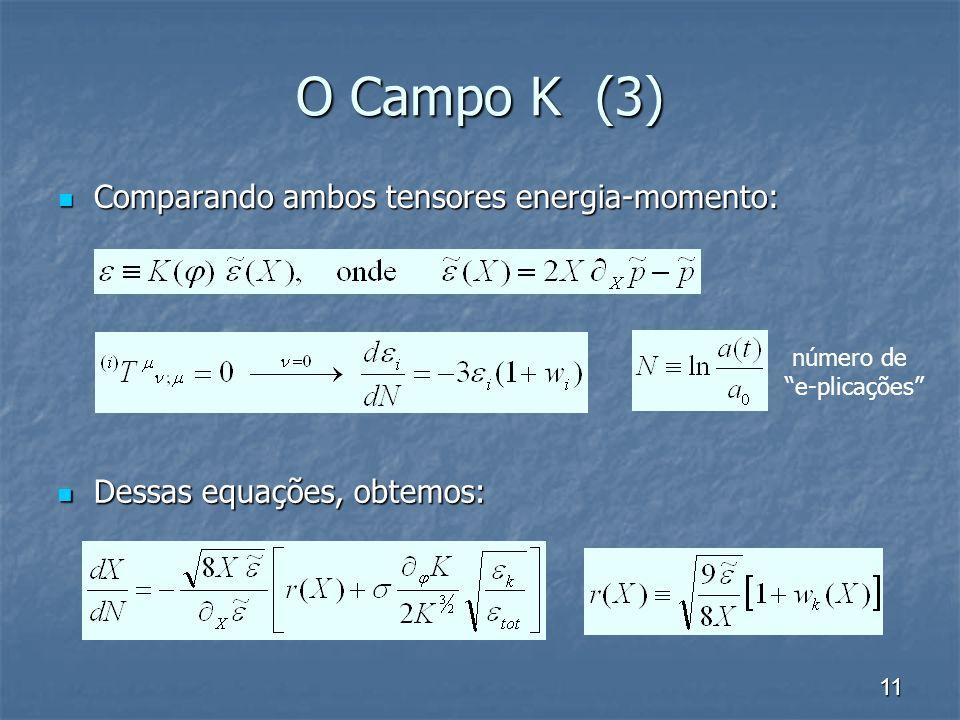 O Campo K (3) Comparando ambos tensores energia-momento: