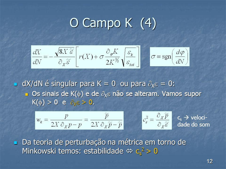 O Campo K (4) dX/dN é singular para K = 0 ou para X = 0: