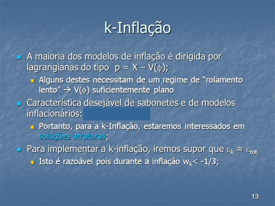 k-Inflação A maioria dos modelos de inflação é dirigida por lagrangianas do tipo p = X – V();