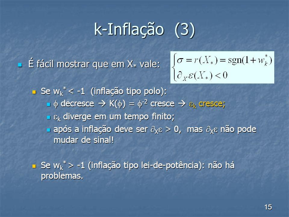 k-Inflação (3) É fácil mostrar que em X* vale: