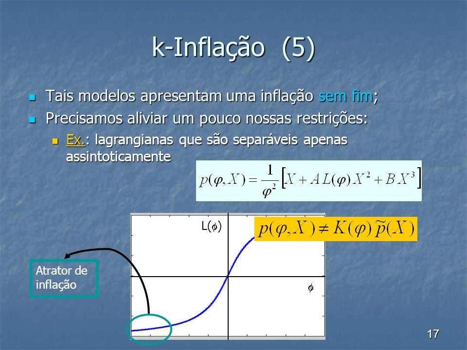 k-Inflação (5) Tais modelos apresentam uma inflação sem fim;