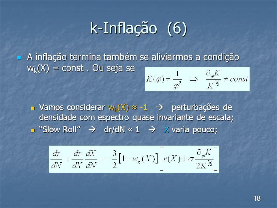 k-Inflação (6) A inflação termina também se aliviarmos a condição wk(X) = const . Ou seja se.