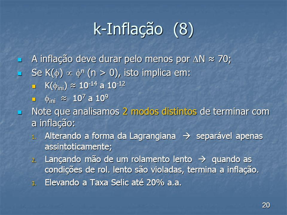 k-Inflação (8) A inflação deve durar pelo menos por N ≈ 70;