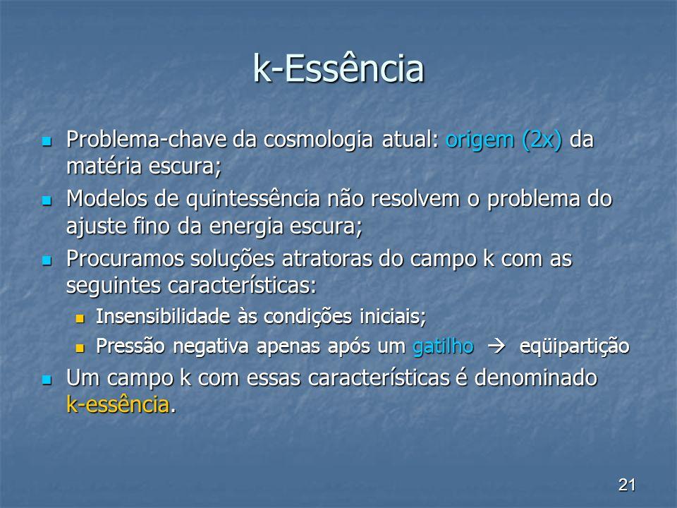 k-Essência Problema-chave da cosmologia atual: origem (2x) da matéria escura;