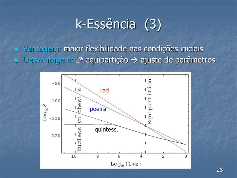 k-Essência (3) Vantagem: maior flexibilidade nas condições iniciais