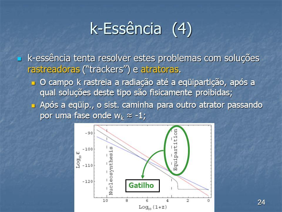 k-Essência (4) k-essência tenta resolver estes problemas com soluções rastreadoras ( trackers ) e atratoras.
