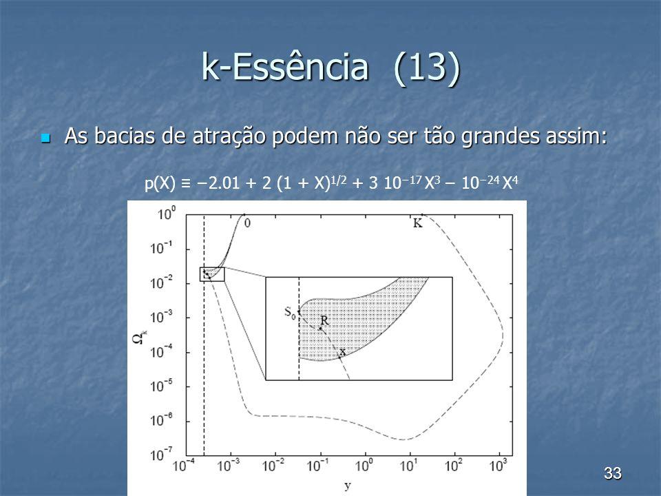 k-Essência (13) As bacias de atração podem não ser tão grandes assim: