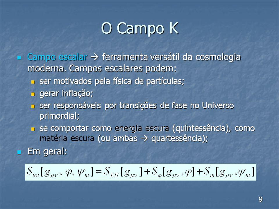 O Campo K Campo escalar  ferramenta versátil da cosmologia moderna. Campos escalares podem: ser motivados pela física de partículas;