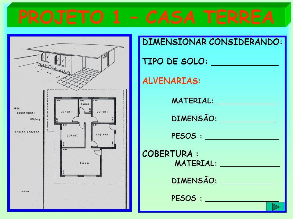 PROJETO 1 – CASA TERREA DIMENSIONAR CONSIDERANDO: