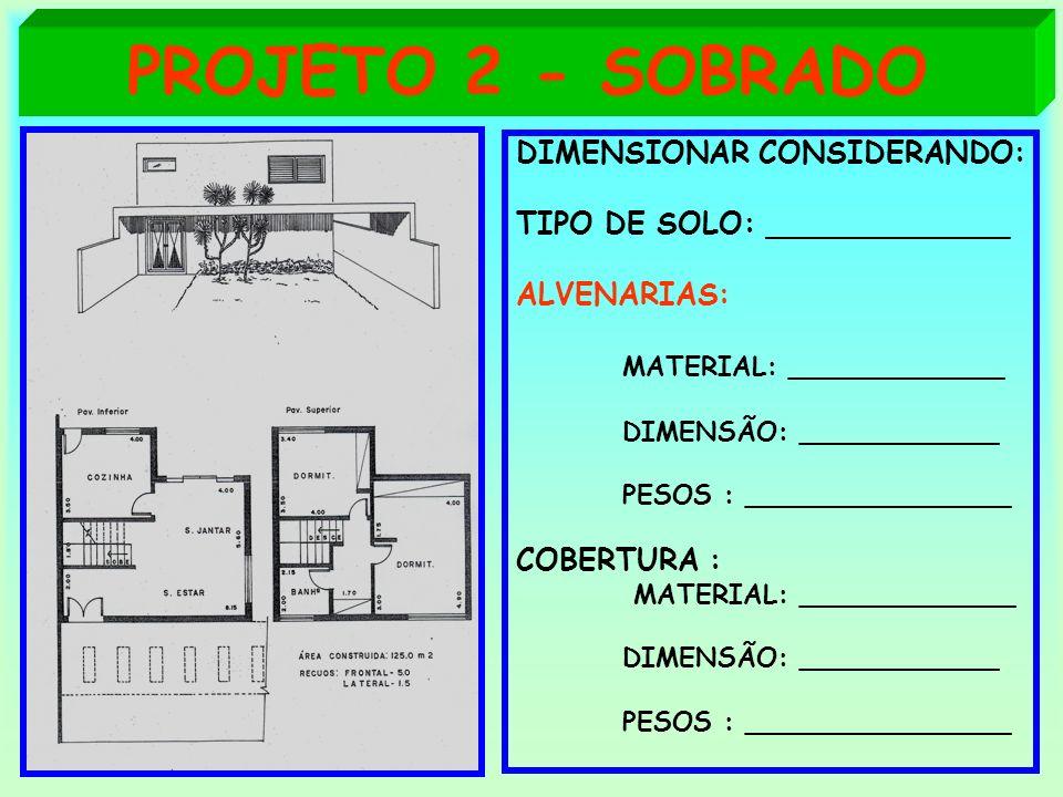 PROJETO 2 - SOBRADO DIMENSIONAR CONSIDERANDO: