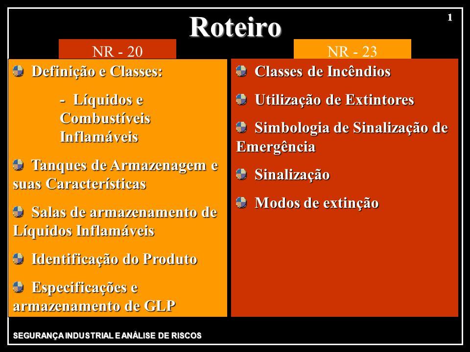 Roteiro NR - 20 NR - 23 Definição e Classes:
